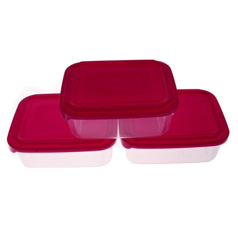 Smart Cook Plastová dóza 3ks obdelník červená