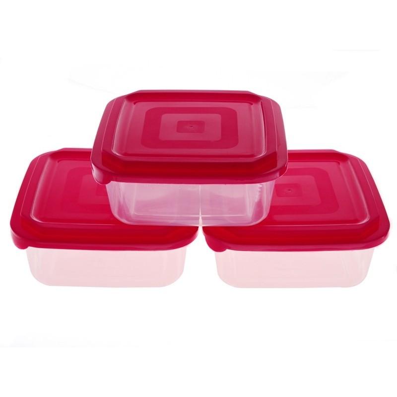 Smart Cook Plastová dóza 3ks 16x16cm červená