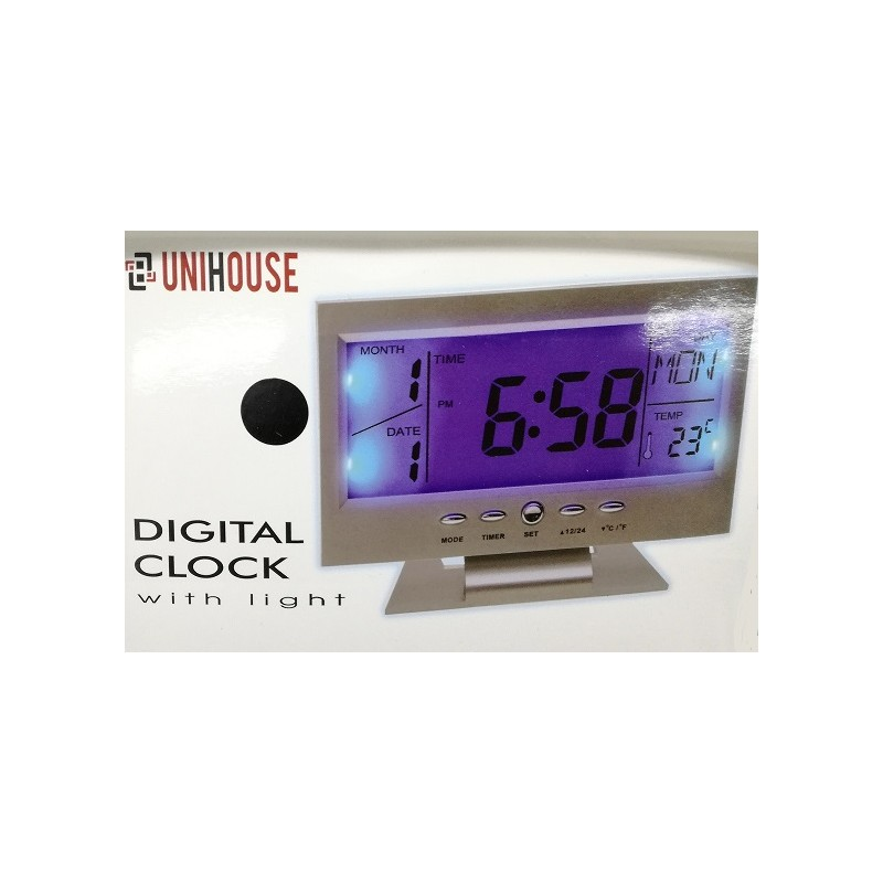 Unihouse Digitální hodiny 11x15x6cm stříbrné