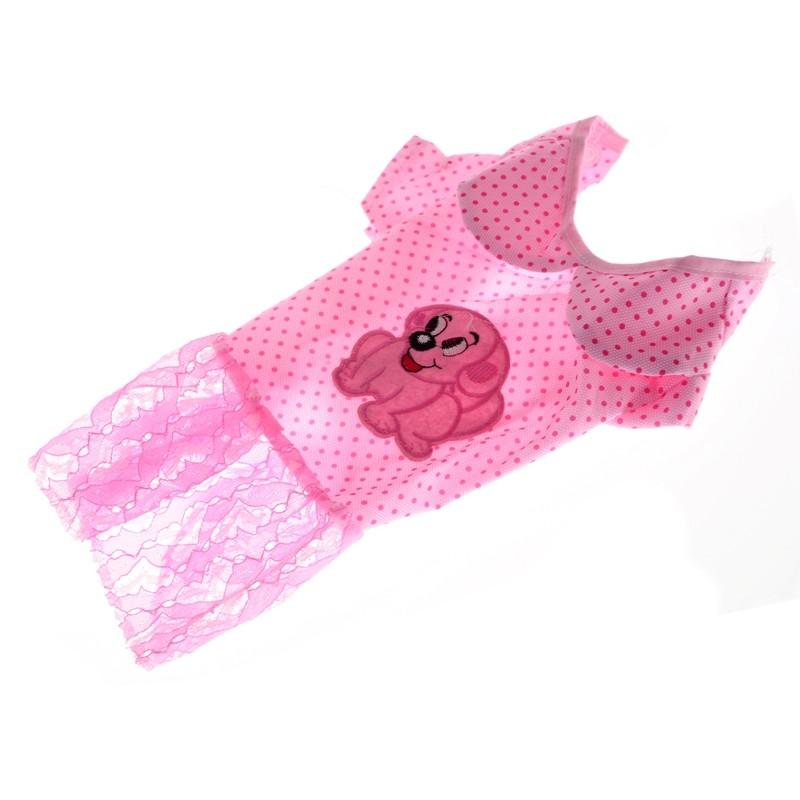 DOGIES Šaty pro psa puntíkaté s pejskem růžové