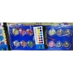 Třpytivé vodové barvy 16 barev + štětec