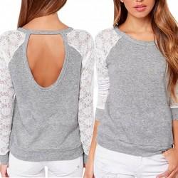 Dámské tričko s dlouhými krajkovými rukávy vel M - šedá
