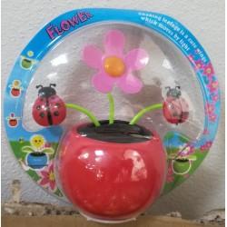 Solární květina s kývací hlavou - růžová a berušky