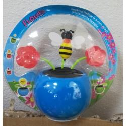 Solární kývací včela s květinama - modrá