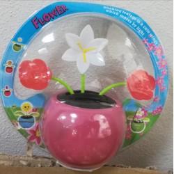 Solární květina s kývací hlavou - bílá růžová