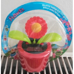 Solární květina s kývací hlavou - červená