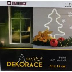 Vánoční dekorace - svíticí stromeček 30 x 19 cm