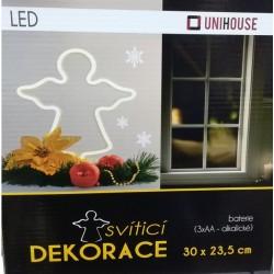 Vánoční dekorace - svíticí anděl 30 x 23,5 cm