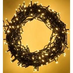 140 LED řetěz 16 m IP44, vánoční osvětlení s adaptérem, venkovní i vnitřní použití, žlutá s bílou