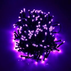 140 LED řetěz 11 m IP44, vánoční osvětlení s adaptérem, venkovní i vnitřní použití, fialová