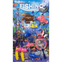 Hra rybaření - set 5 zvířátek, síťka a dva pruty