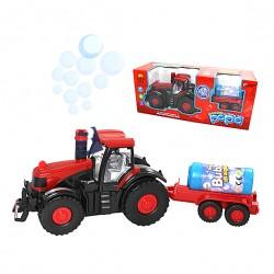 Traktor s vlečkou a bublifukem