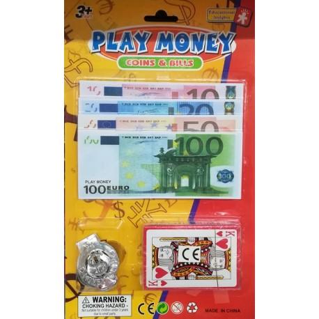 Dětské hrací peníze Euro + hrací karty
