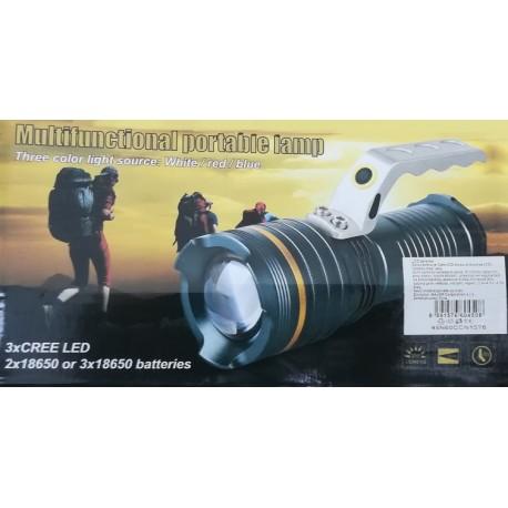 Multifunkční baterka / svítilna / lampa s výstražným barevným blikáním