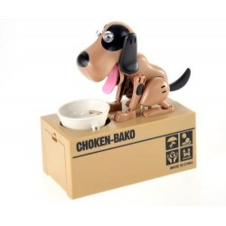 Pokladnička Hladový pes Piggy bank - hnědá