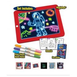 Magic Pad No.9225 Magická LED tabule na kreslení svítící LED deska 25,5 x 19 cm modrá