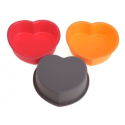 Smart Cook Pečící forma 11x11x3cm silikonová oranžová srdce