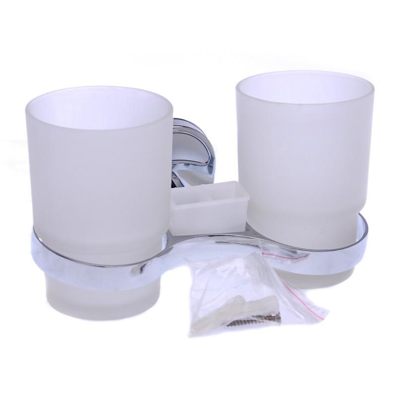 Elmich Home Držák do koupelny 10x16x10cm nerez/sklo/plast