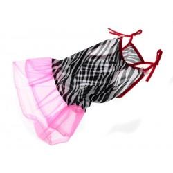 DOGG Šaty Zebra s růžovou krajkou