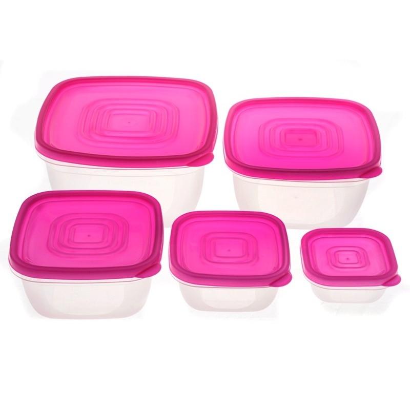 Smart Cook Plastová dóza hranatá růžová
