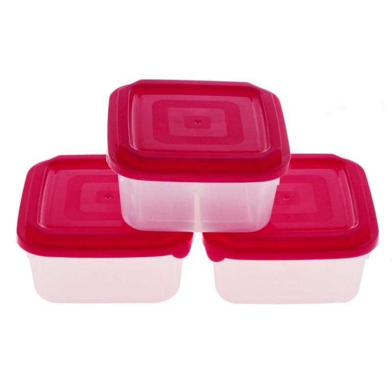 Smart Cook Plastová dóza 3ks čtverec červená