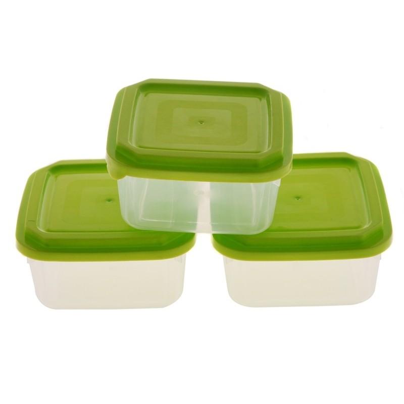 Smart Cook Plastová dóza 3ks čtverec zelená
