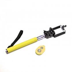 Žlutá bluetooth selfie tyč, teleskopická