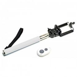 Bílá bluetooth selfie tyč, teleskopická