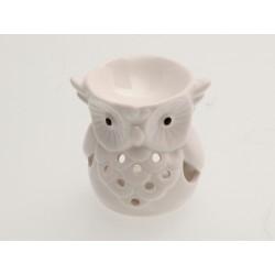 Keramická aroma lampa bílá - sova