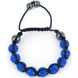 Shamballa náramek S5 - tm. modrá