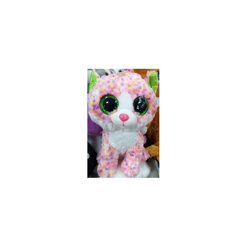 Plyšová kočka se třpytivýma očima růžová 20cm