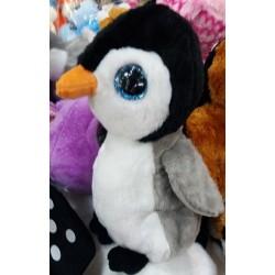 Plyšový tučňák se třpytivýma očima šedý 20cm