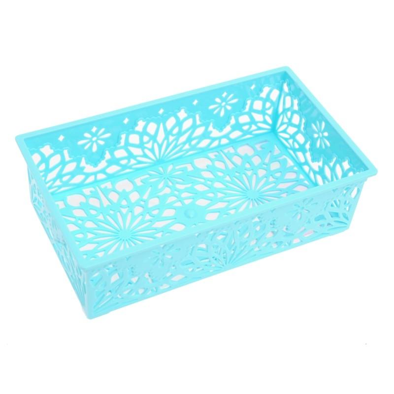 Unihouse Dekorační košík plastový 6 x 12 x 20 cm - modrý