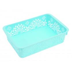Unihouse Dekorační košík plastový 6 x 15 x 24 cm - modrý