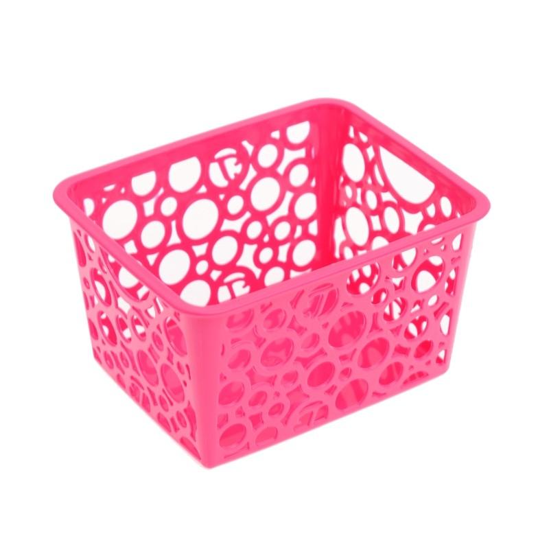 Unihouse Dekorační košík plastový 8 x 12 x 14 cm - růžový