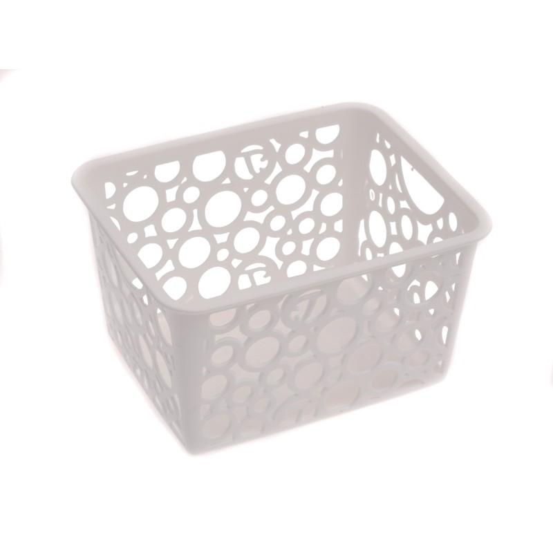 Unihouse Dekorační košík plastový 8 x 12 x 14 cm - bílý