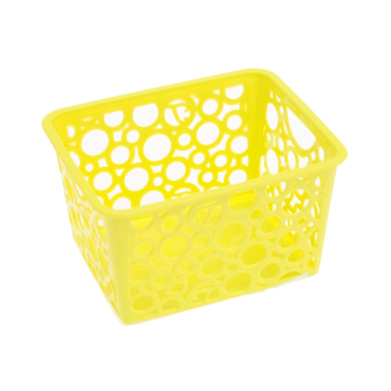 Unihouse Dekorační košík plastový 8 x 12 x 14 cm - žlutý