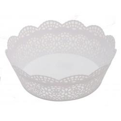 Dekorační plastový košík Unihouse průměr 23 cm bílý
