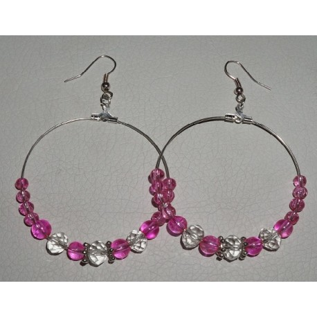 Náušnice kruhové růžovobílé