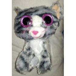 Plyšová kočka se třpytivýma očima šedá 15cm