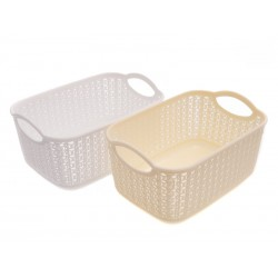Unihouse Koš na prádlo plastový bílý, krémový 12 l