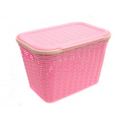 Unihouse Koš na prádlo plastový s víkem, růžový 20 l