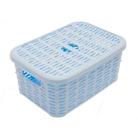 Unihouse Koš na prádlo plastový s víkem, modrý 6 l