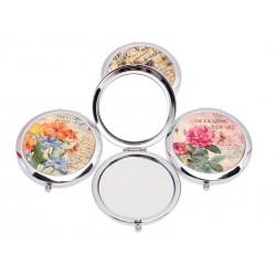 Unihouse Kapesní kosmetické zrcátko pr. 7 cm květiny