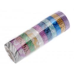 Unihouse Lepící páska dekorační 1,2 x 3 cm 12 ks mix